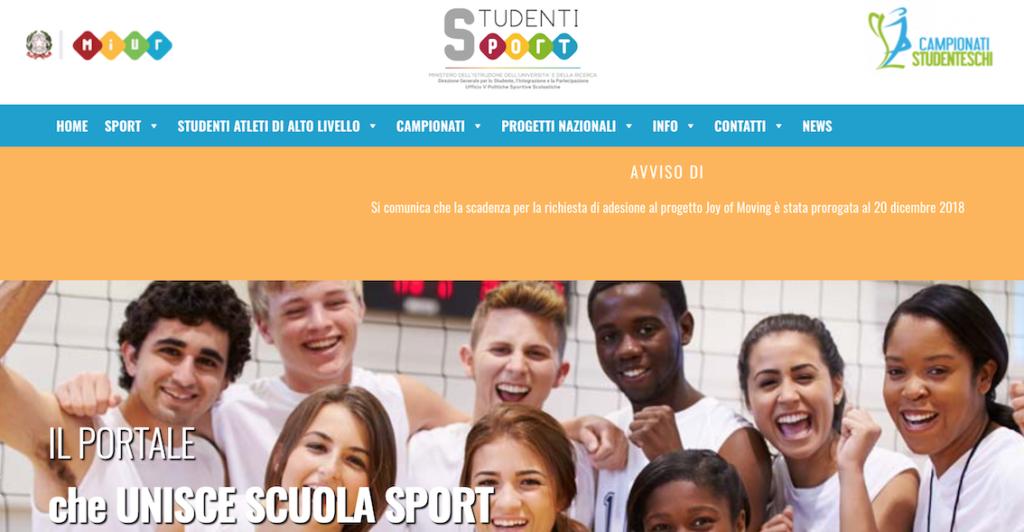 La schermata del sito Scuola e Sport